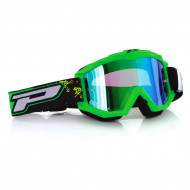 PRO GRIP GOGGLES OFFROAD FLUO MAT GREEN 3204 LENS MIRRORED BLUE PZ3204VF