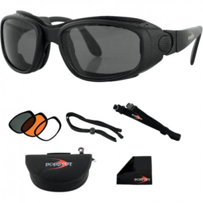 BOBSTER SPORT & STREET SUNGLASSES BLACK FRAME W/ 3 LENSES (SMOKE, AMBER, CLEAR) BSSA001AC